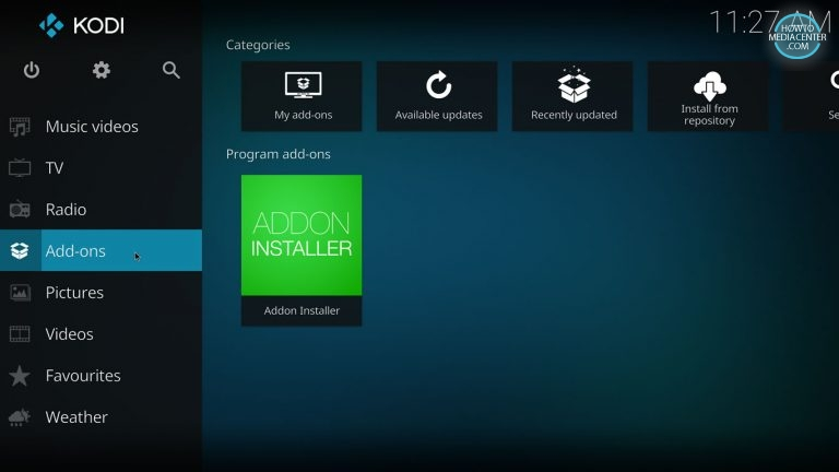 Addons tab on home screen with fusion addon installer