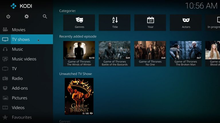 tv shows section on kodi estuary home screen