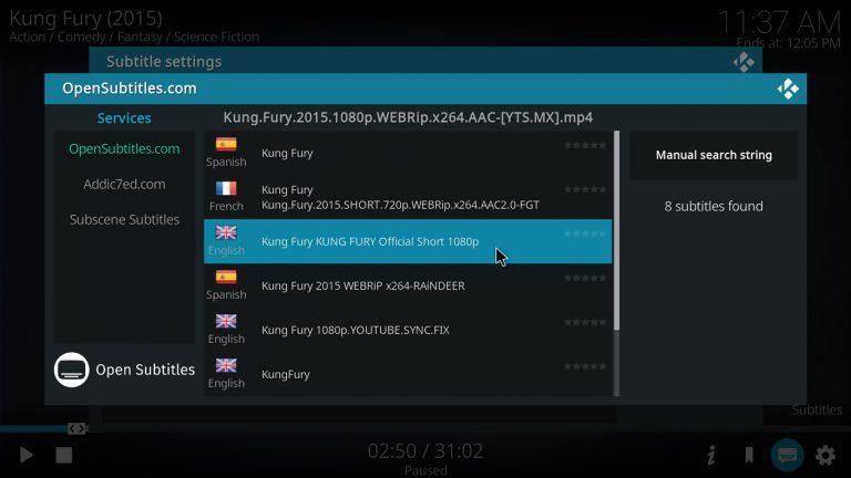 selecting subtitles on kodi 17 krypton with estuary skin