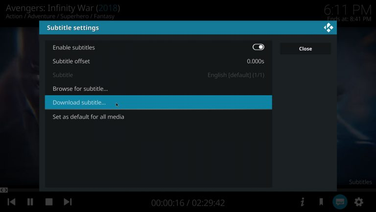 downloading subtitles with Kodi