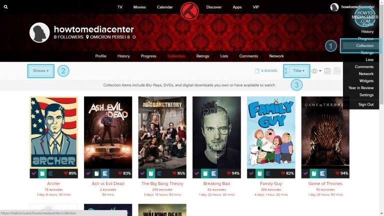 Colección de Trakt.tv ordenada por titulo de serie de TV