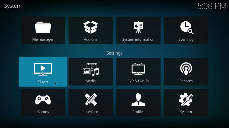 Player settings on Kodi 17 with estuary