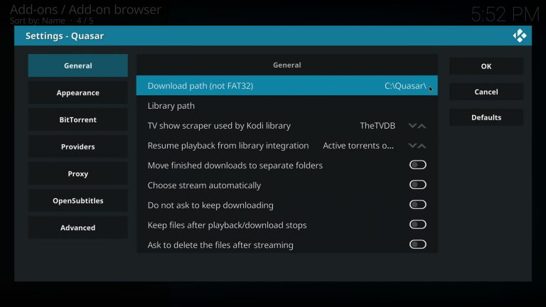 setting download path for Quasar on Kodi with estuary