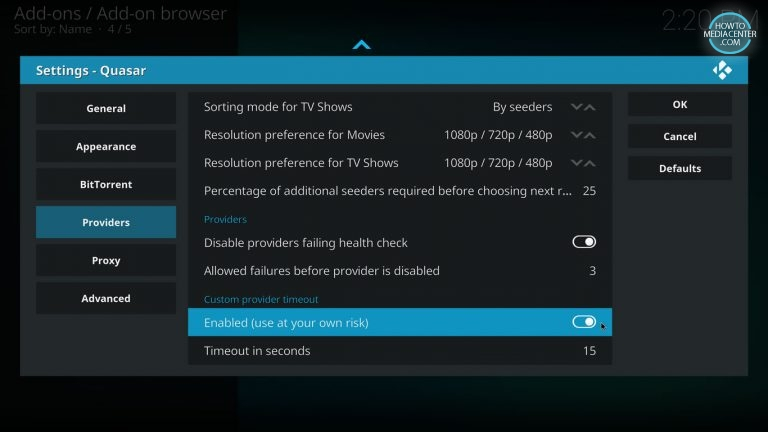 setting quasar providers timeout parameter