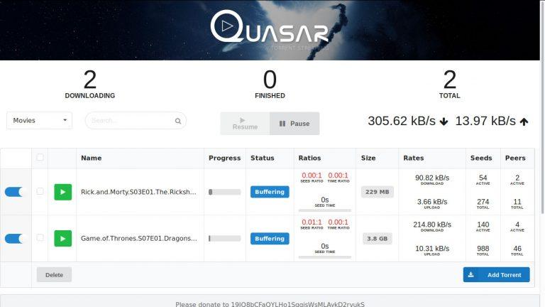 Kodi Quasar web interface