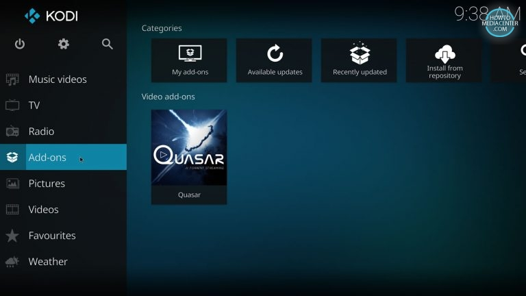 Addons tab on Kodi Quasar