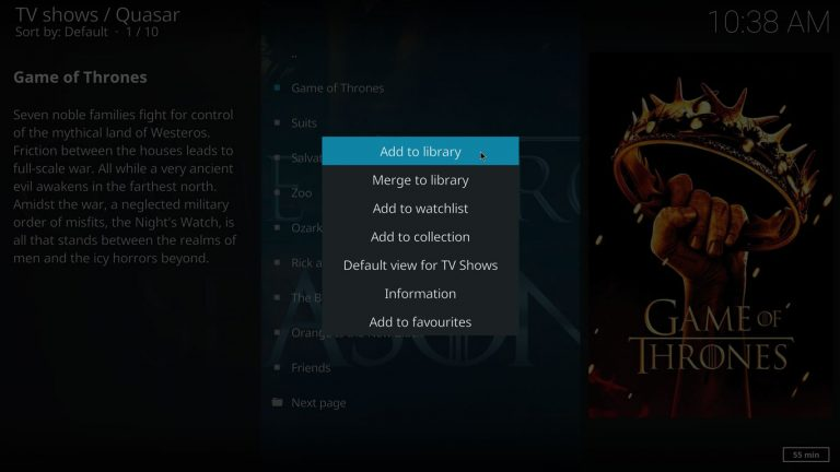 add to library with quasar and kodi