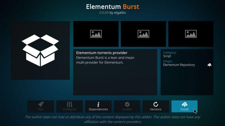 install elementum burst kodi