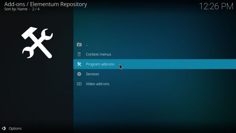program addons category on elementum repo