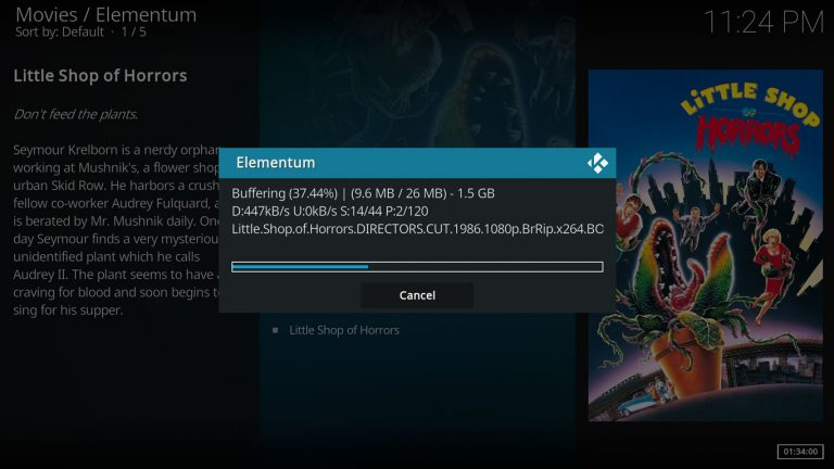 loading initial buffer on Elementum Kodi