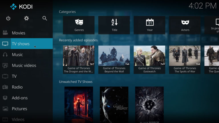 incursion kodi library integration