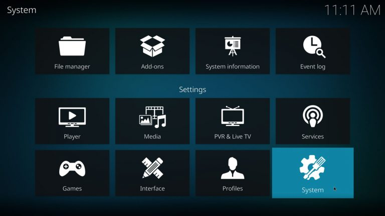 Kodi Opciones de Sistema en Menu de sistema