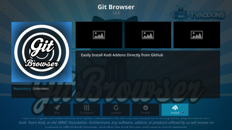 install Git Browser on Kodi