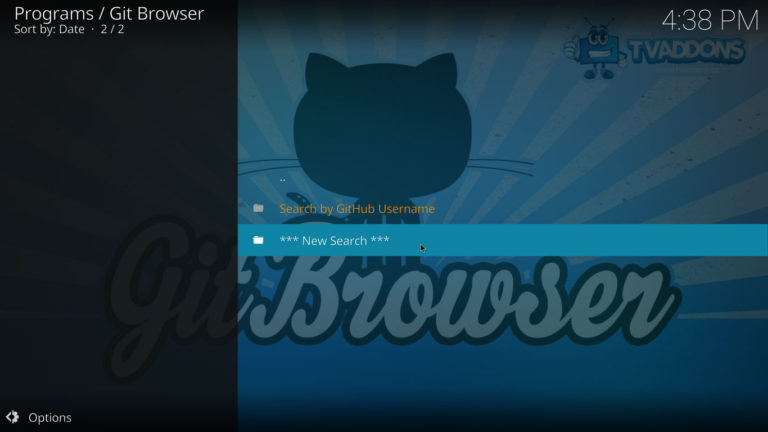 searching on Git Browser for Kodi