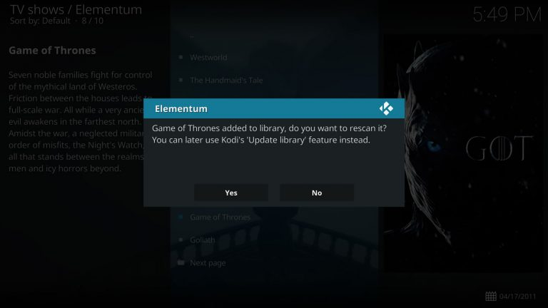 refresh path after adding items to Kodi library with Elementum