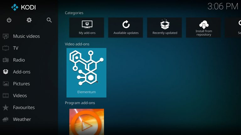 Elementum and Elementum Burst on Kodi Home Screen