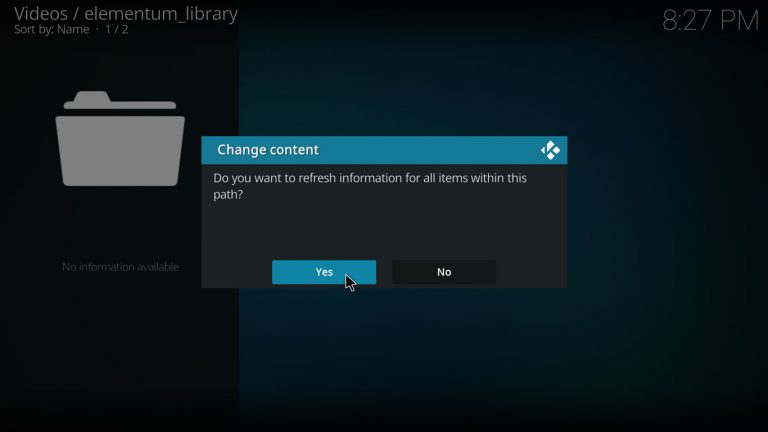 refresh the contents of kodi's library