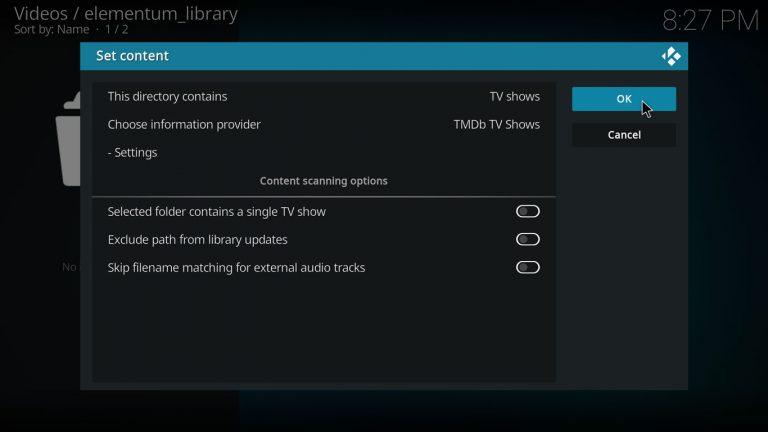 configurar series de TV como contenido de la carpeta en Kodi