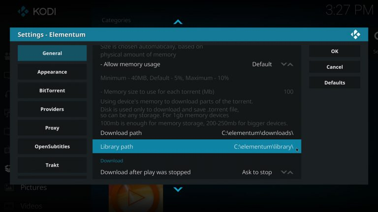 setting Elementum library integration on Kodi