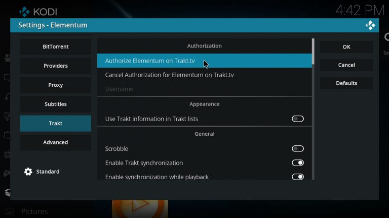 Kodi Elementum Trakt authorization