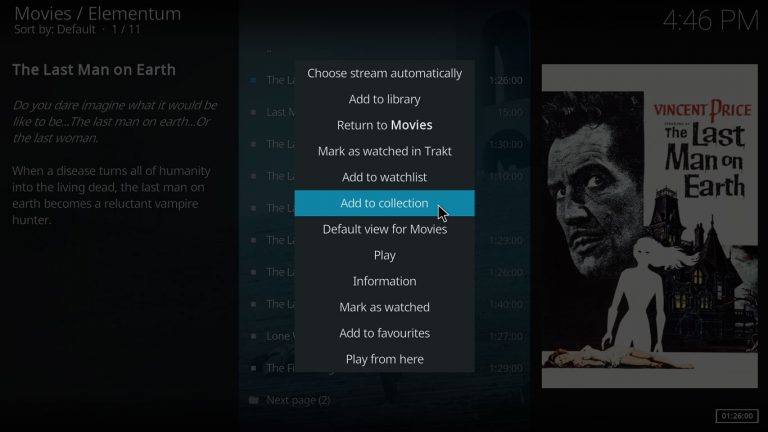 Adding item to Trakt collection using Elementum Kodi addon