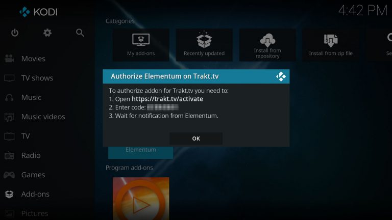Trakt authorization code for Elementum on Kodi