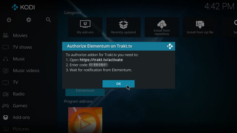 accept Trakt authorization code with Elementum Kodi addon