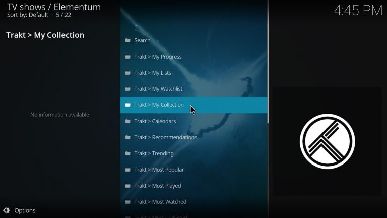 using Trakt collection on Kodi with Elementum