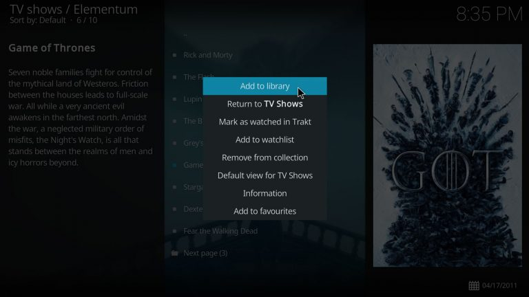 add item to library with Elementum and Kodi