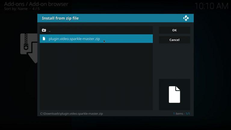 Kodi Sparke addon installation zip file
