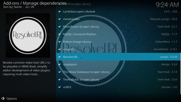 ResolveURL addon dependency on Kodi