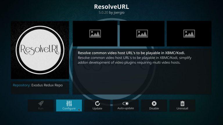 opening ResolveURL configuration on Kodi