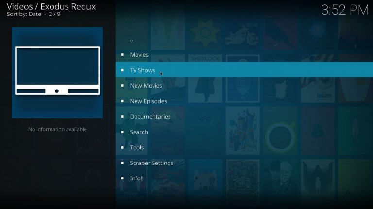 main menu on exodus redux kodi addon