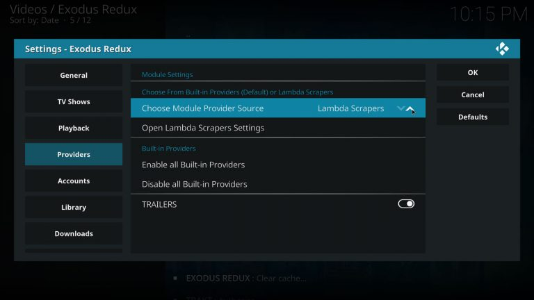 enable lambda scrapers on exodus redux kodi addon