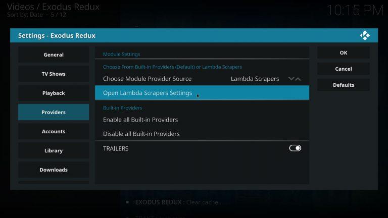 open lambda scrapers settings on exodus redux