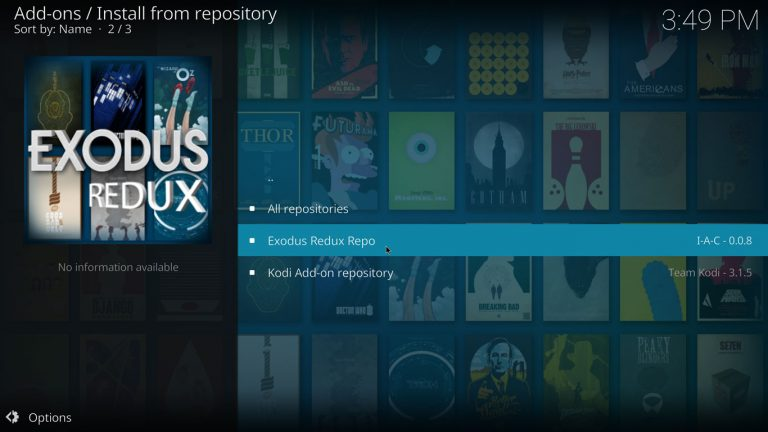 Exodus Redux repository on Kodi