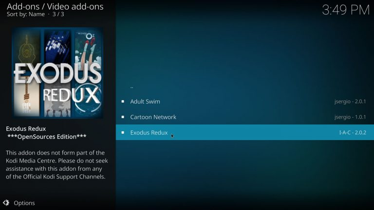 Exodus Redux kodi addon on its own repository