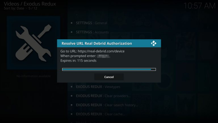Real Debrid authorization code on Exodus Redux