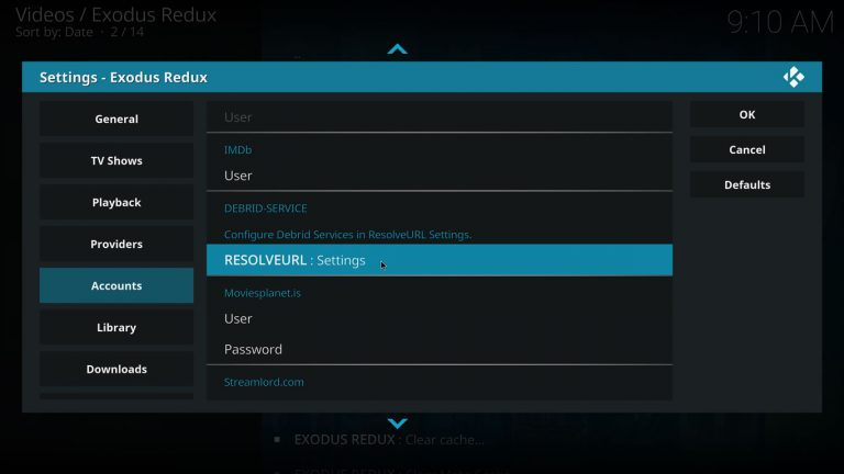 open ResolveURL settings with Exodus Redux addon