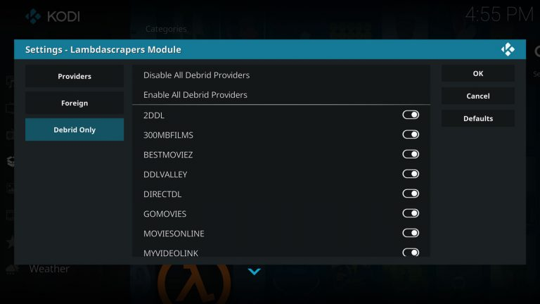 premium providers tab on lambda scrapers