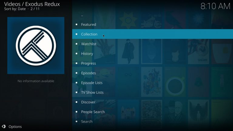 using trakt collection on kodi with exodus redux