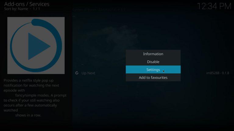 open Next Up settings on Kodi