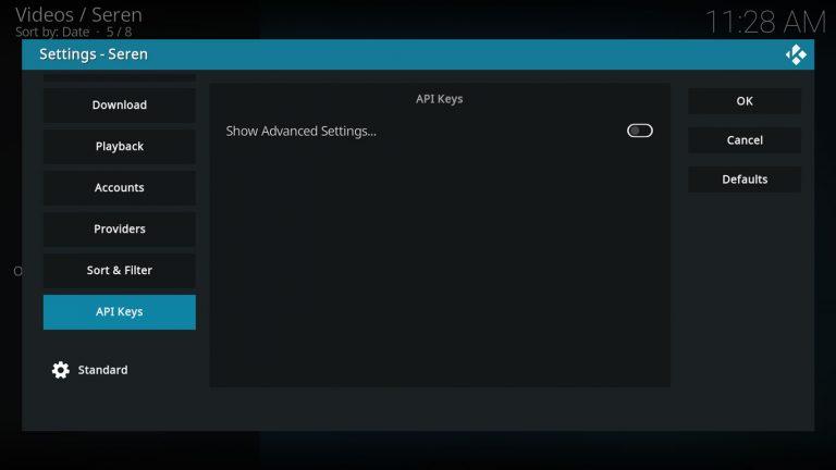 Seren API Keys Settings