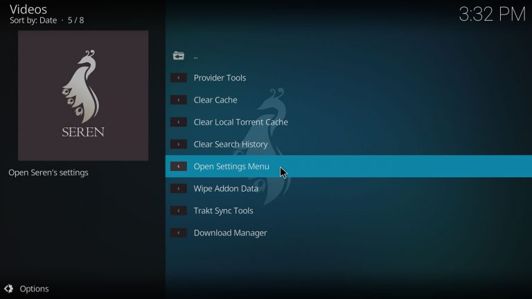 open setting menu on Seren Kodi add-on