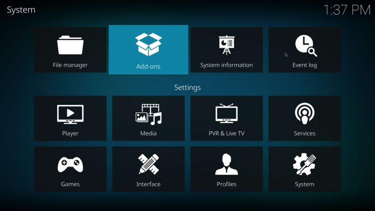 Kodi Add-on Browser on System Menu