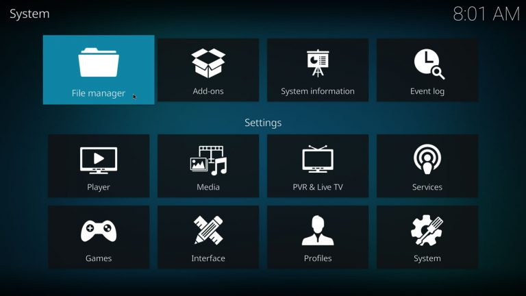 Kodi File Manager on System menu