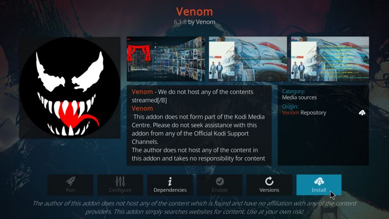 instalar Venom en Kodi