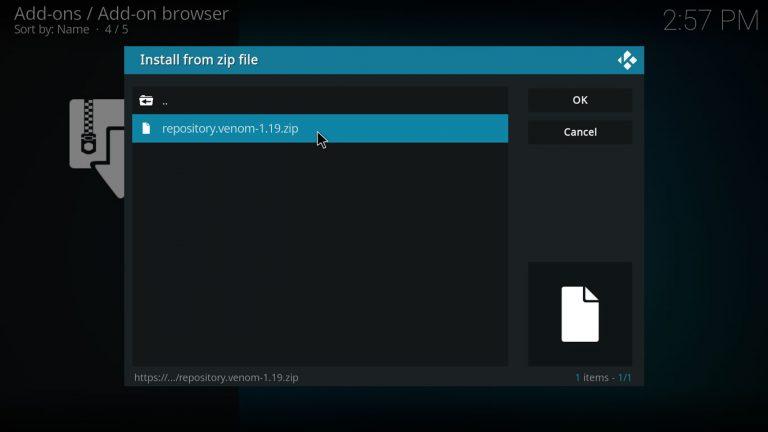 archivo zip de repositorio Venom para Kodi