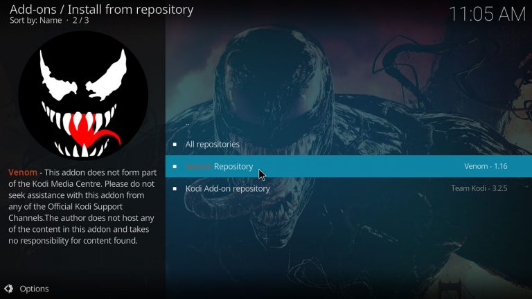 Venom repository on Kodi