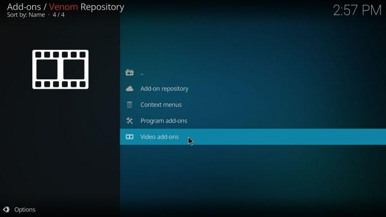 video add-ons category on Venom repo